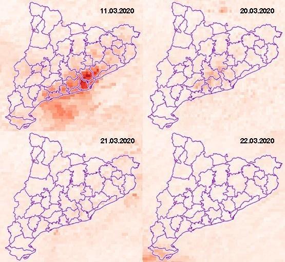 Variació de la concentració troposfèrica de NO2 abans i després de les mesures de confinament