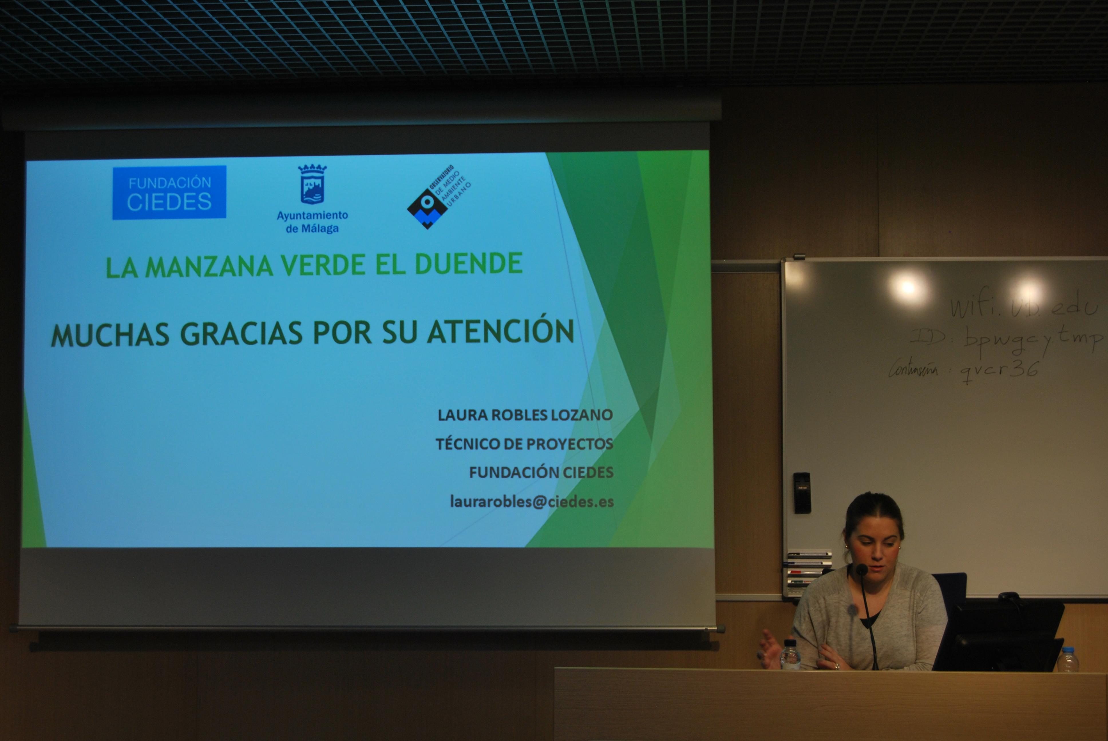 Laura Robles, de la Fundació CIEDES de Màlaga, presenta el projecte: La Manzana Verde-El Duende