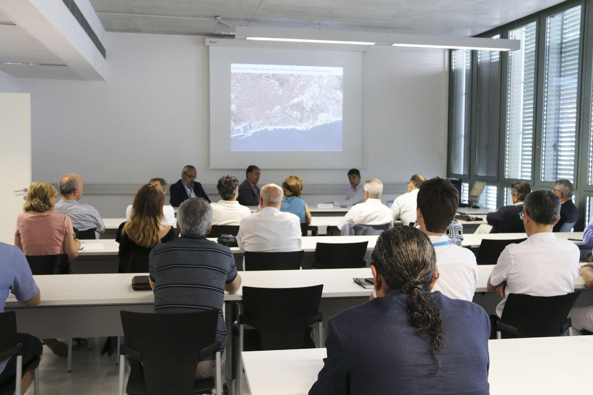 Joan Callau, Jordi Bosch i Joan de Pablo introdueixen la visita al Campus Diagonal-Besòs