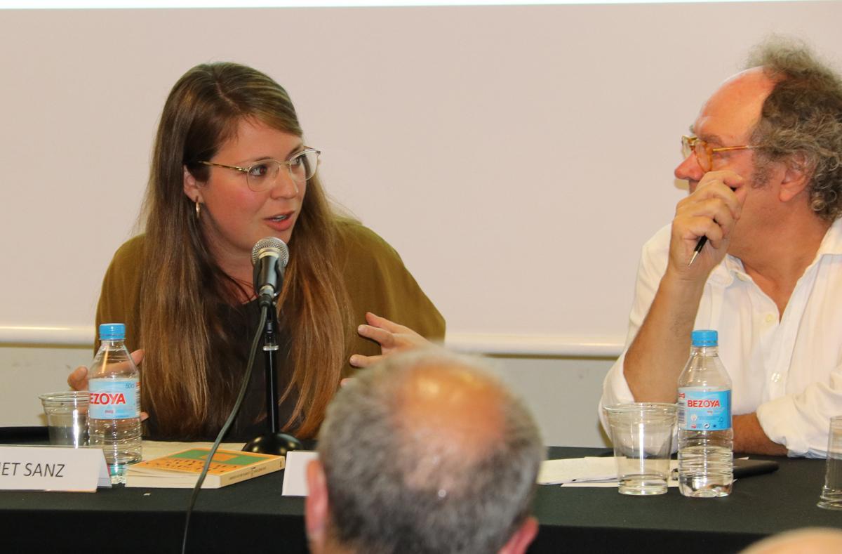Janet Sanz durant la seva intervenció
