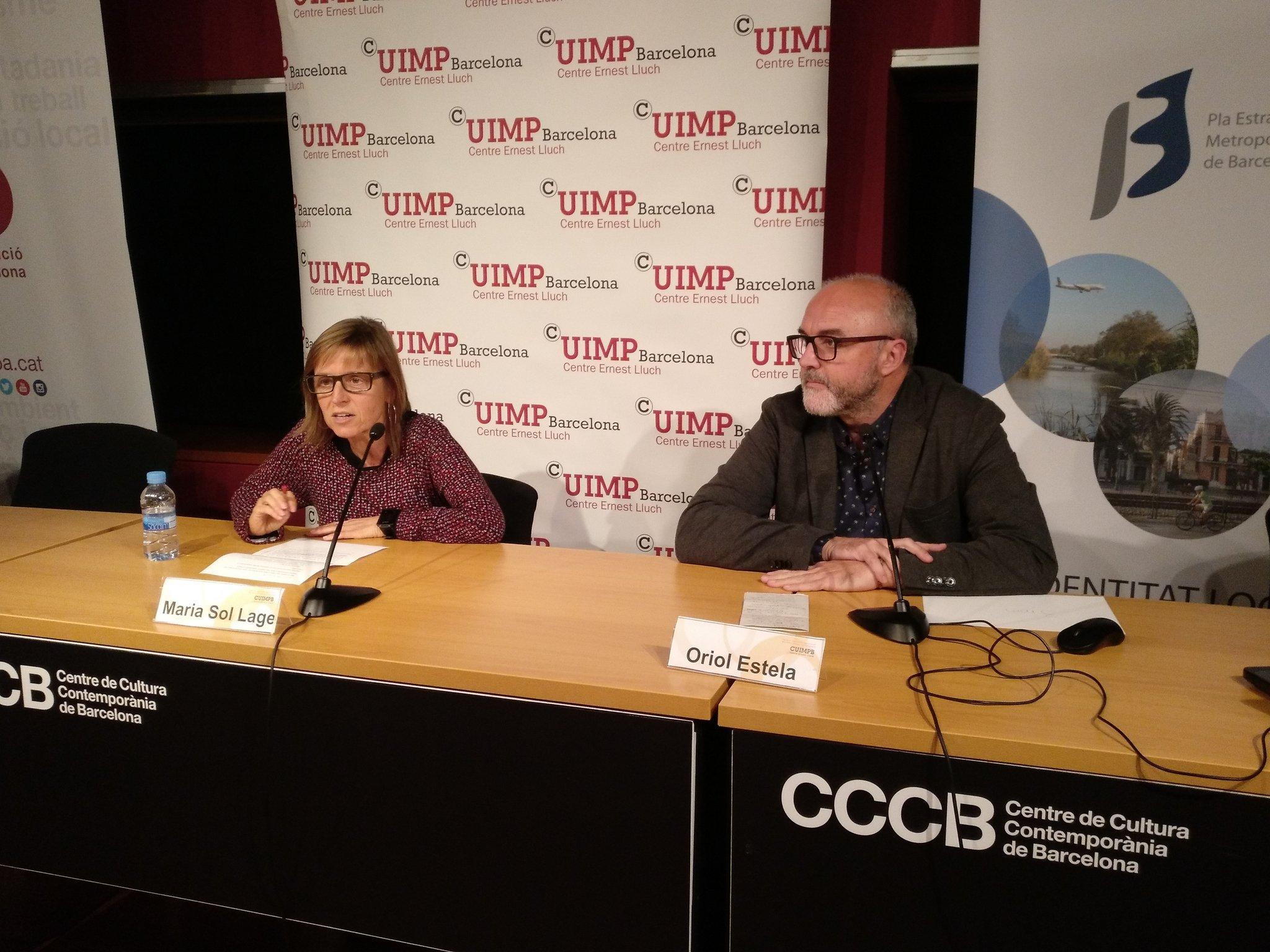 Maria Sol Lage, cap del O.T. Estratègies de Desenvolupament de la Diputació de Barcelona, i Oriol Estela Barnet, coordinador general del PEMB