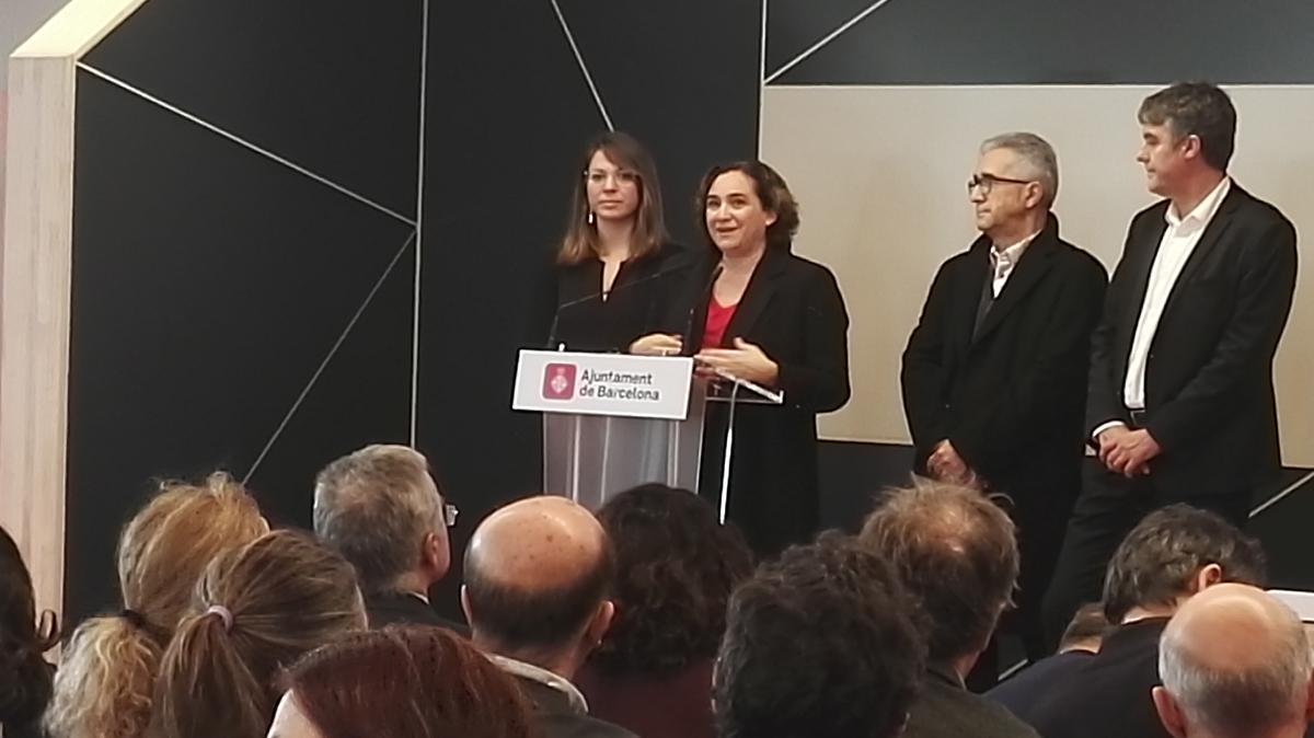 Ada Colau durant l'acte de presentació a Ca l'Alier
