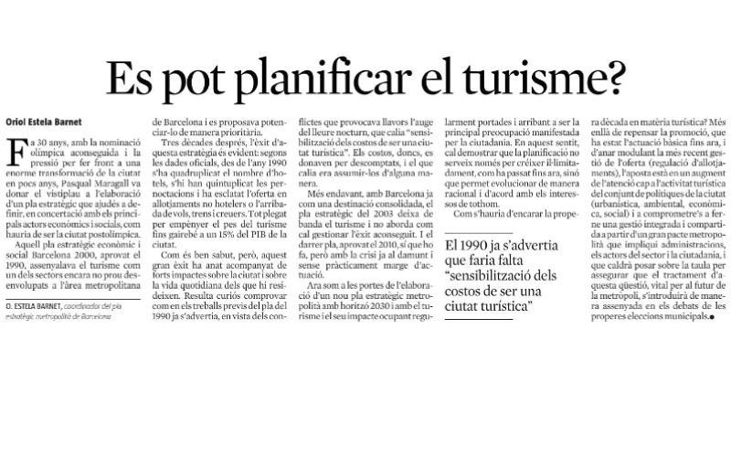 Es pot planificar el turisme? Oriol Estela a La Vanguardia