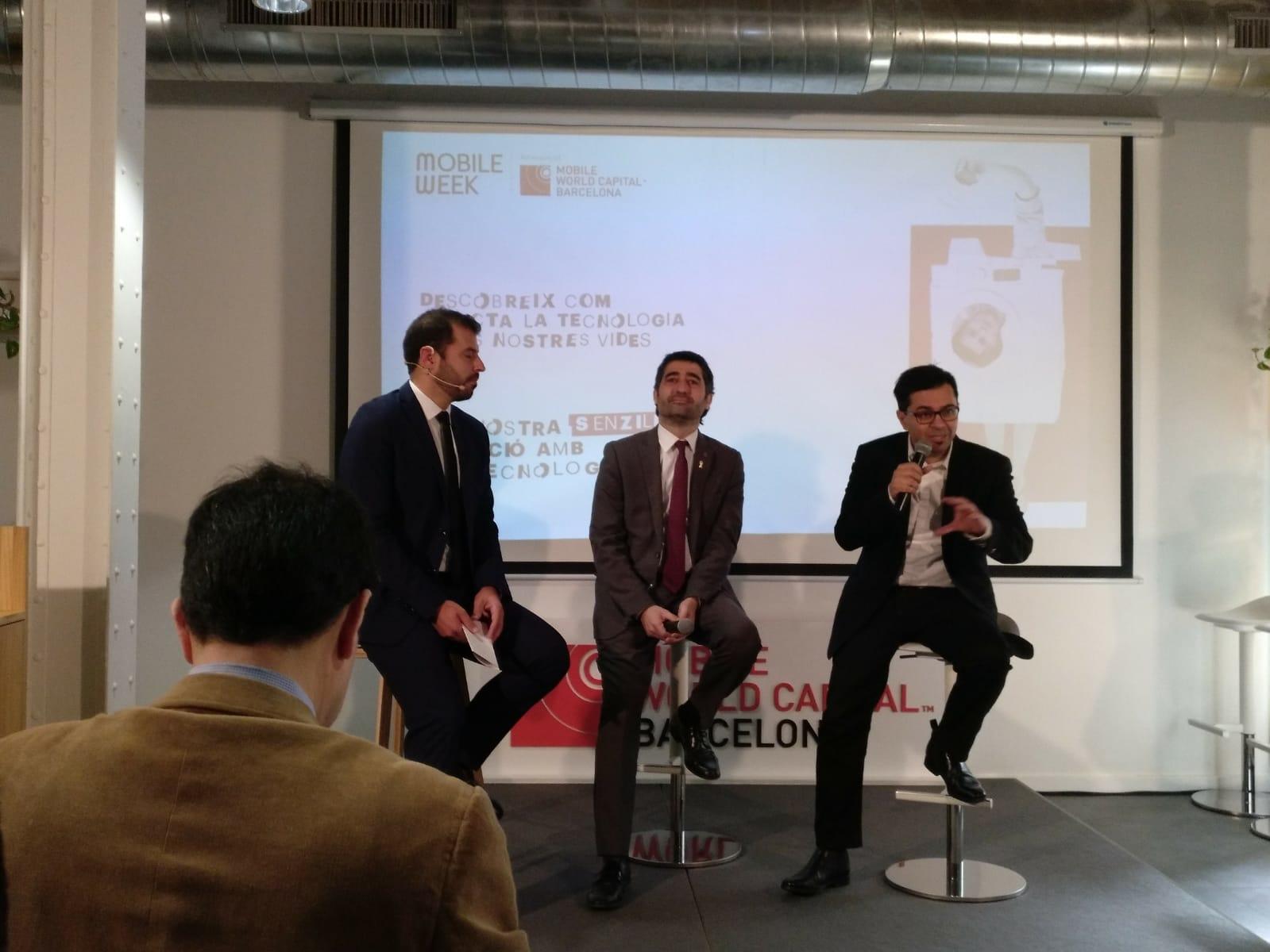 El Consejero de Políticas Digitales y Administración, Jordi Puigneró i el primer teniente de alcalde del Ayuntamiento de Barcelona, Gerardo Pisarello