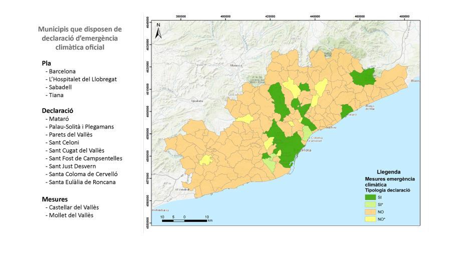 Mapa declaracions d'emergència climàtica RMB