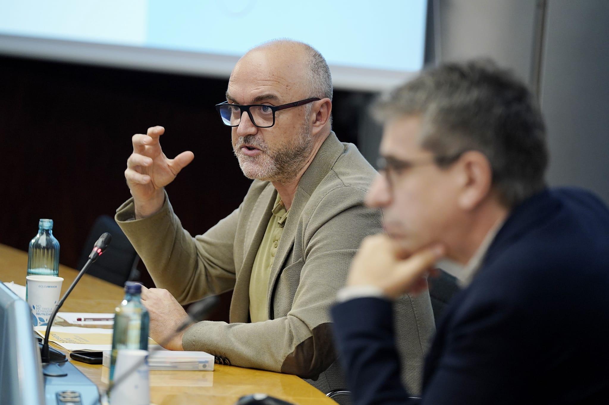 Oriol Estela i Jordi Martí durant la presentació de Barcelona Demà. Compromís Metropolità 2030