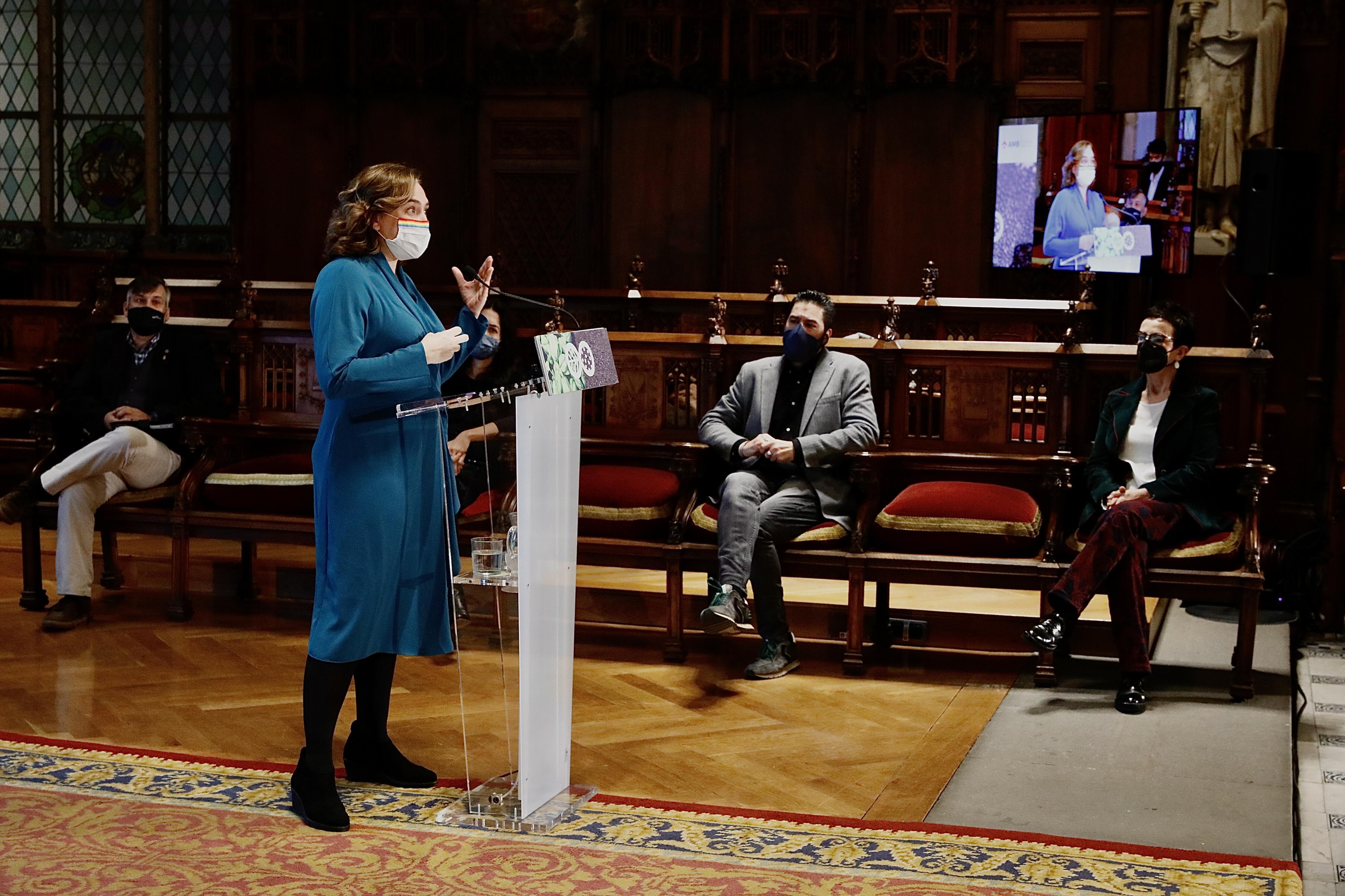 L'alcaldessa de Barcelona, Ada Colau, durant la presentació