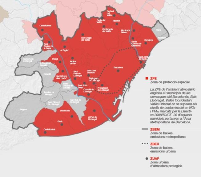 """Mapa de la zonificació de baixes emissions. Font: Publicació """"L"""
