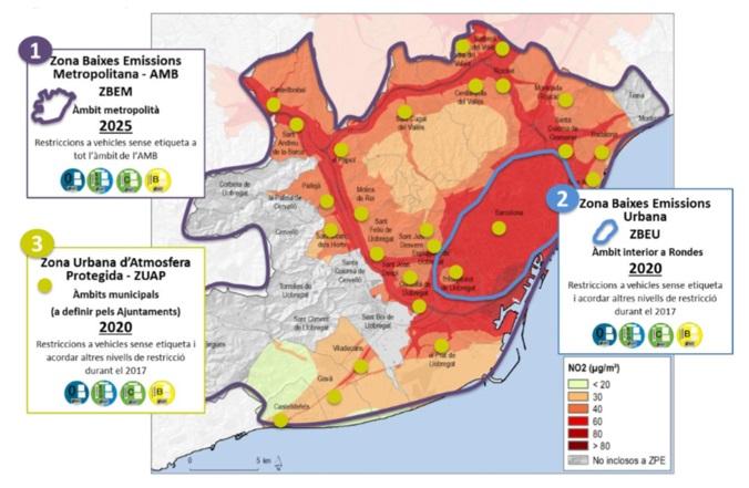 Implantació de les Zones de Baixes Emissions. Font: Programa metropolità de mesures contra la contaminació atmosfèrica, Àrea Metropolitana de Barcelona