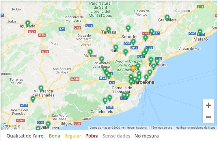 Font: Mapes de qualitat de laire. Generalitat de Catalunya