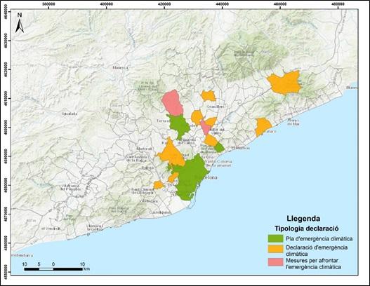 Tipología de emergencia climática, Región Metropolitana de Barcelona