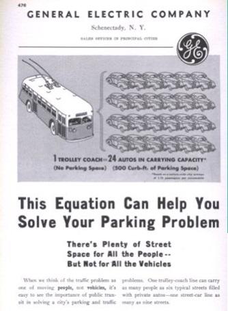 Anunci de General Electric en 1940 NY on es compara lespai ocupat per un transport collectiu i lespai ocupat per les mateixes persones en cas dutilitzar un cotxe